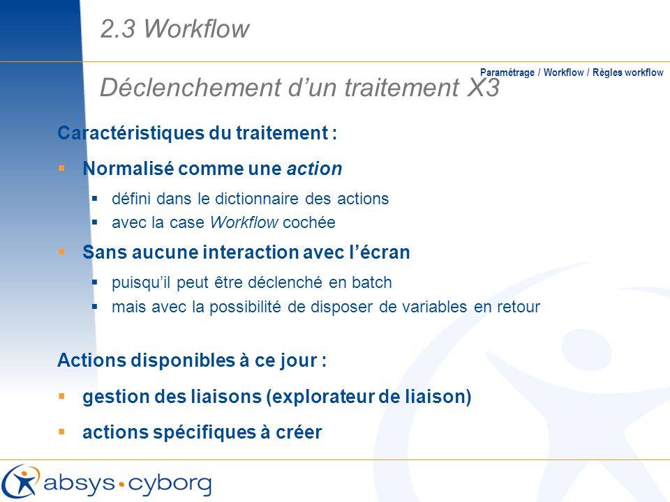 Caractéristiques du traitement : Normalisé comme une action défini dans le dictionnaire des actions avec la case Workflow cochée Sans aucune interacti