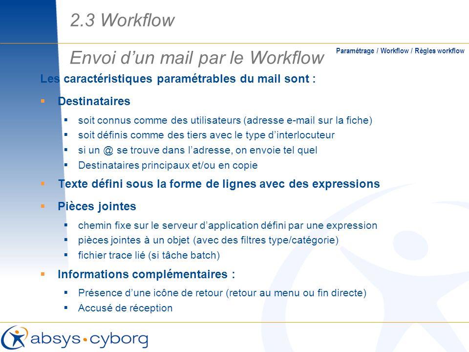 Les caractéristiques paramétrables du mail sont : Destinataires soit connus comme des utilisateurs (adresse e-mail sur la fiche) soit définis comme de