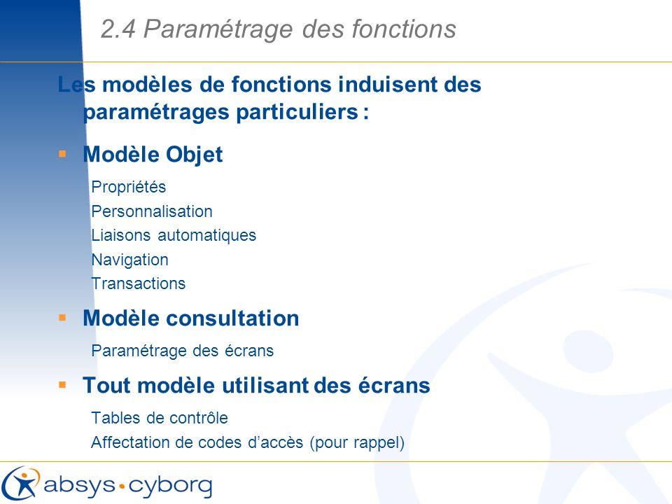 Les modèles de fonctions induisent des paramétrages particuliers : Modèle Objet Propriétés Personnalisation Liaisons automatiques Navigation Transacti