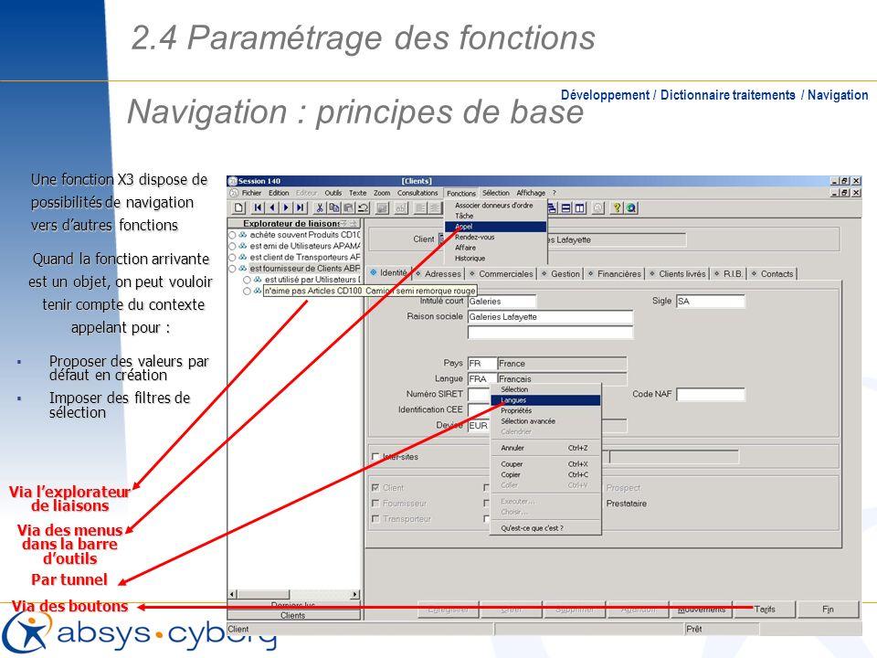 Navigation : principes de base Développement / Dictionnaire traitements / Navigation Une fonction X3 dispose de possibilités de navigation vers dautre
