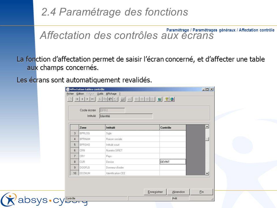 Affectation des contrôles aux écrans Paramétrage / Paramétrages généraux / Affectation contrôle La fonction daffectation permet de saisir lécran conce