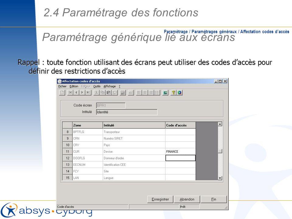 Paramétrage générique lié aux écrans Paramétrage / Paramétrages généraux / Affectation codes daccès Rappel : toute fonction utilisant des écrans peut
