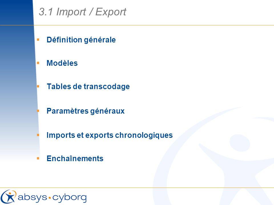 Définition générale Modèles Tables de transcodage Paramètres généraux Imports et exports chronologiques Enchaînements 3.1 Import / Export