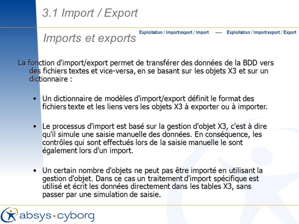 Imports et exports Exploitation / Import/export / Import ----- Exploitation / Import/export / Export La fonction d'import/export permet de transférer
