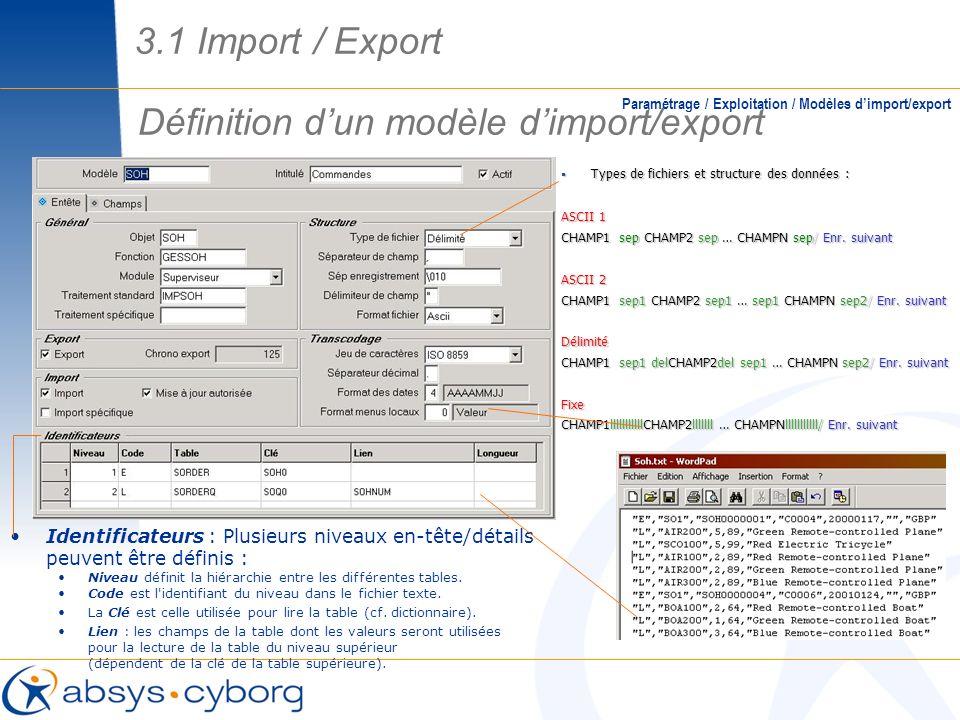 Définition dun modèle dimport/export Paramétrage / Exploitation / Modèles dimport/export Types de fichiers et structure des données : Types de fichier