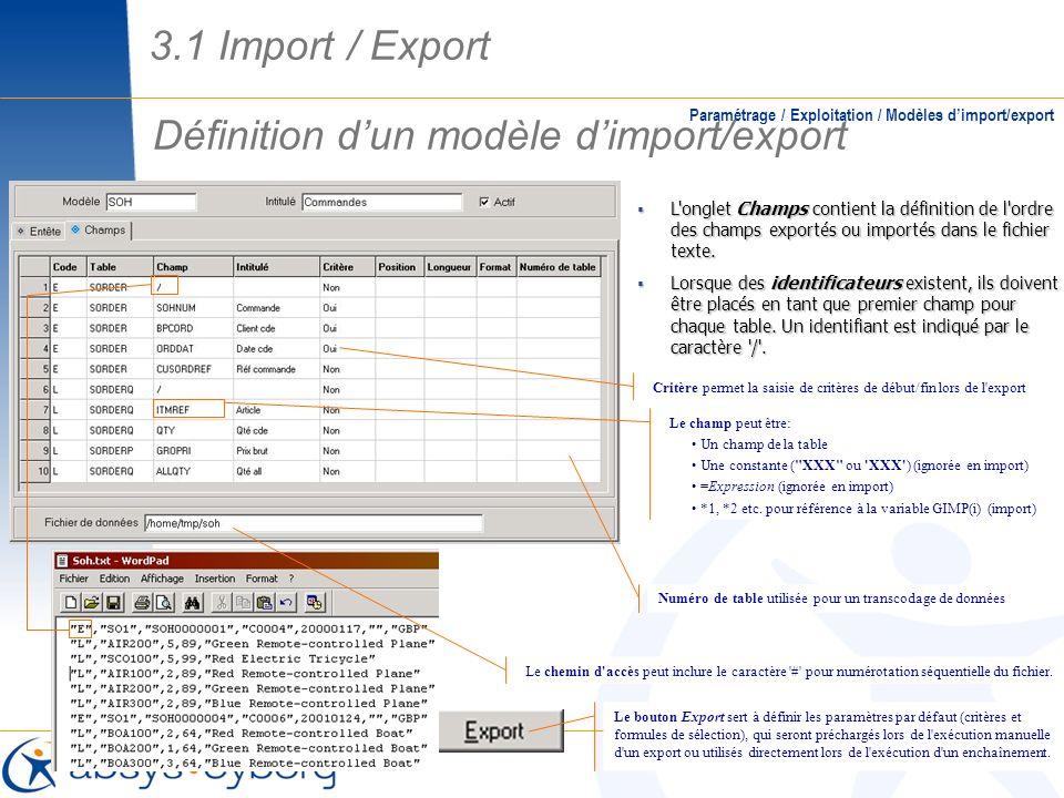 Définition dun modèle dimport/export Paramétrage / Exploitation / Modèles dimport/export L'onglet Champs contient la définition de l'ordre des champs