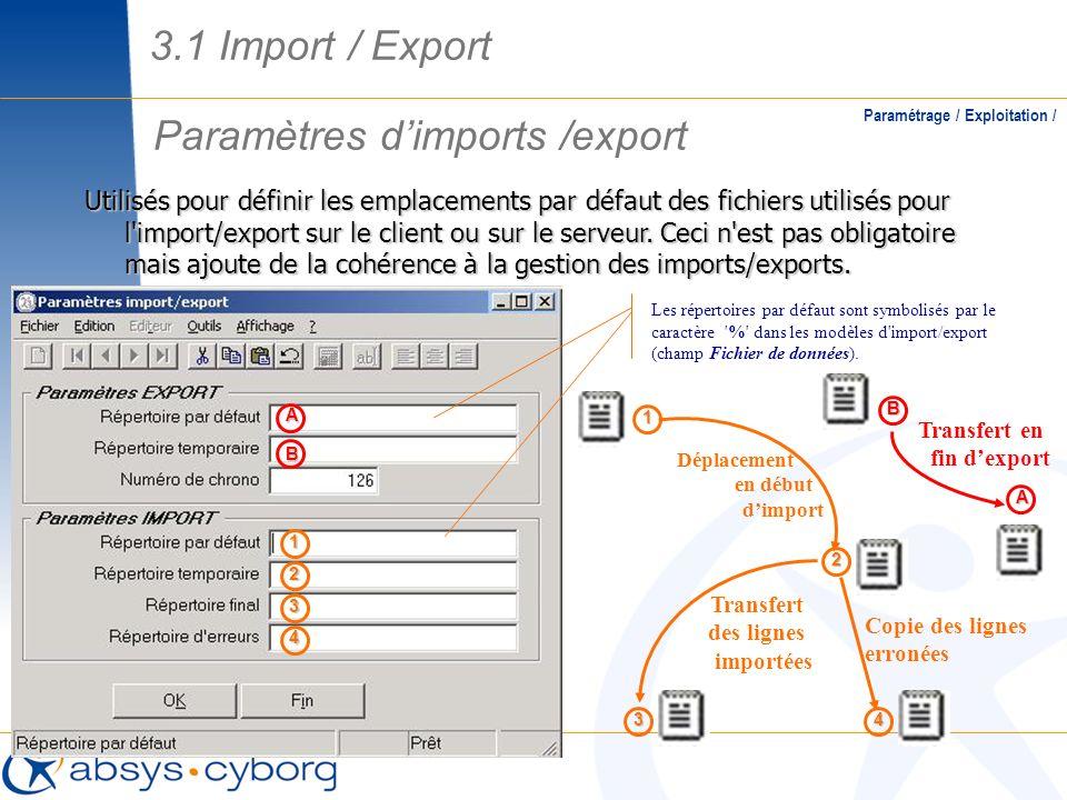 Paramètres dimports /export Paramétrage / Exploitation / Utilisés pour définir les emplacements par défaut des fichiers utilisés pour l'import/export