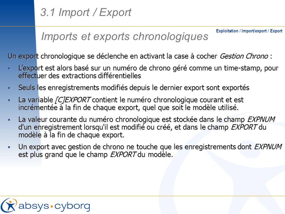 Imports et exports chronologiques Exploitation / Import/export / Export Un export chronologique se déclenche en activant la case à cocher Gestion Chro
