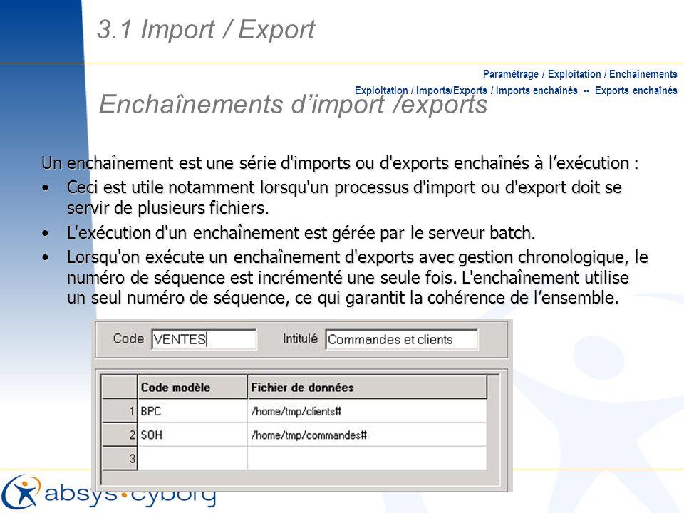 Enchaînements dimport /exports Paramétrage / Exploitation / Enchaînements Exploitation / Imports/Exports / Imports enchaînés -- Exports enchaînés Un e