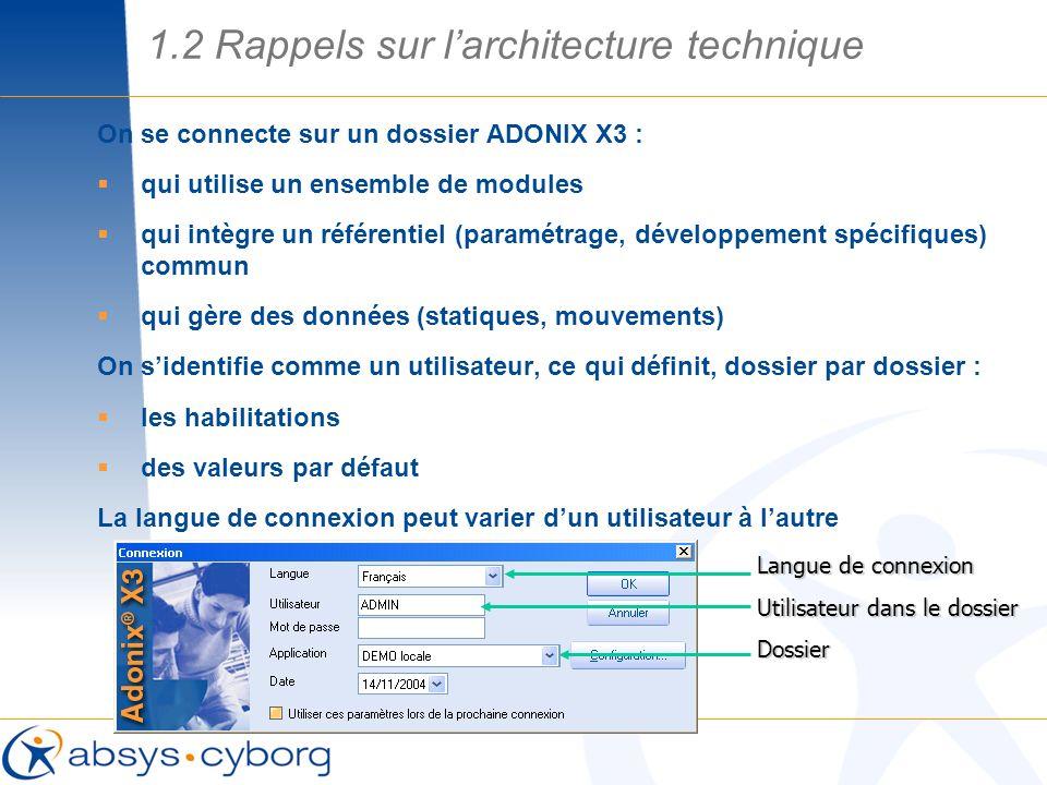 On se connecte sur un dossier ADONIX X3 : qui utilise un ensemble de modules qui intègre un référentiel (paramétrage, développement spécifiques) commu