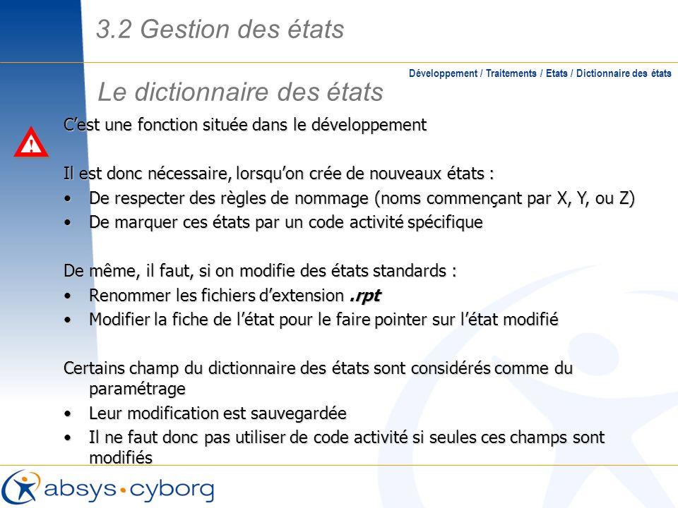 Le dictionnaire des états Développement / Traitements / Etats / Dictionnaire des états Cest une fonction située dans le développement Il est donc néce