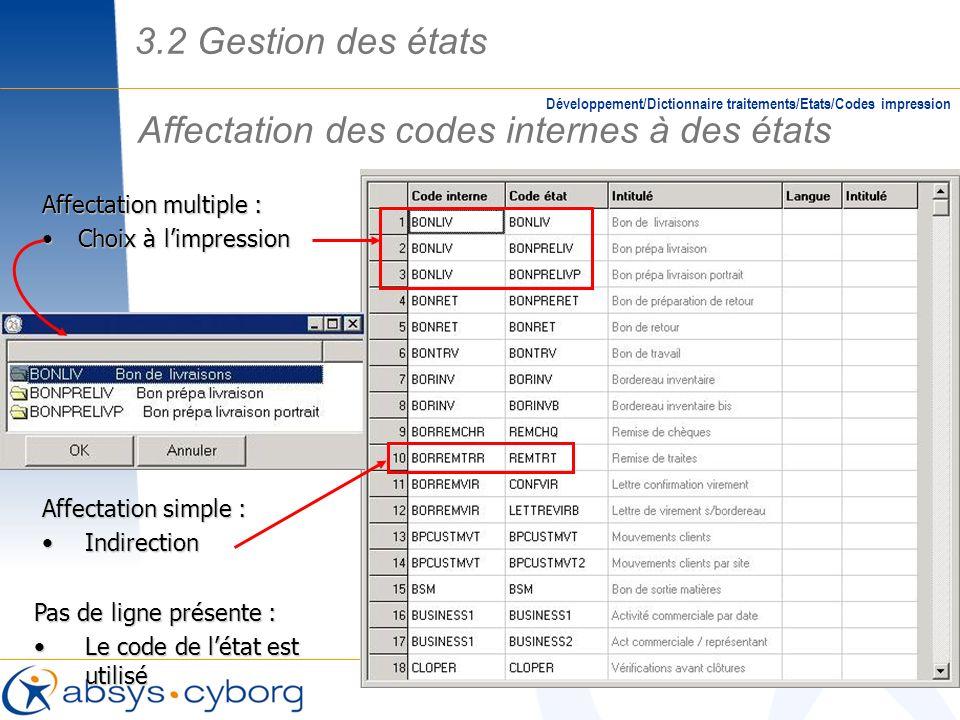 Affectation des codes internes à des états Développement/Dictionnaire traitements/Etats/Codes impression Affectation multiple : Choix à limpressionCho