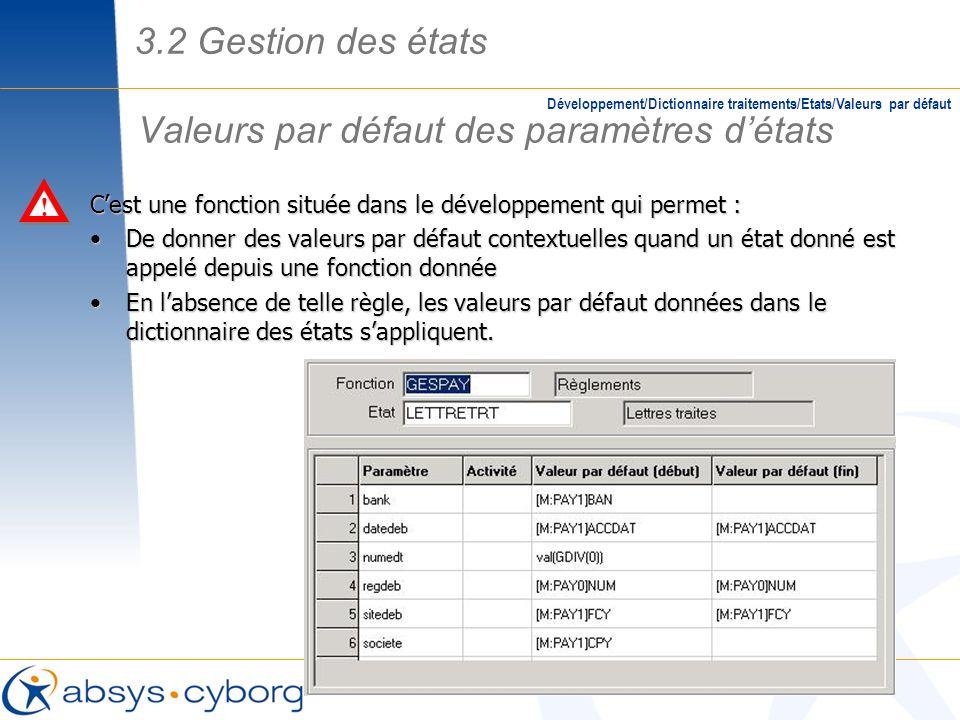 Valeurs par défaut des paramètres détats Développement/Dictionnaire traitements/Etats/Valeurs par défaut Cest une fonction située dans le développemen
