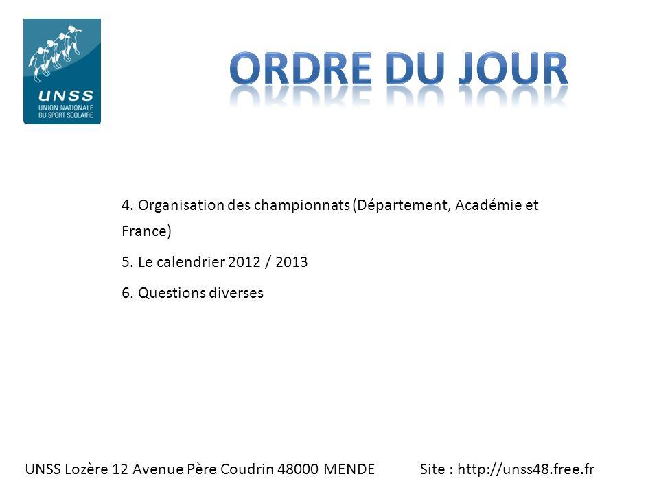 UNSS Lozère 12 Avenue Père Coudrin 48000 MENDE Site : http://unss48.free.fr 4. Organisation des championnats (Département, Académie et France) 5. Le c