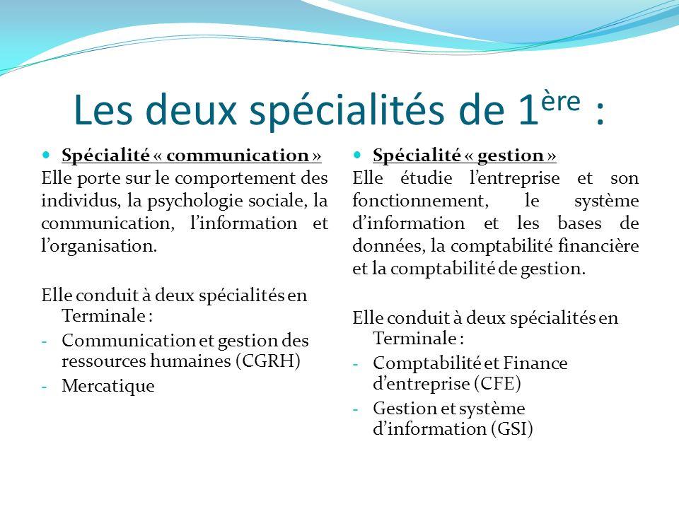 Les deux spécialités de 1 ère : Spécialité « communication » Elle porte sur le comportement des individus, la psychologie sociale, la communication, linformation et lorganisation.