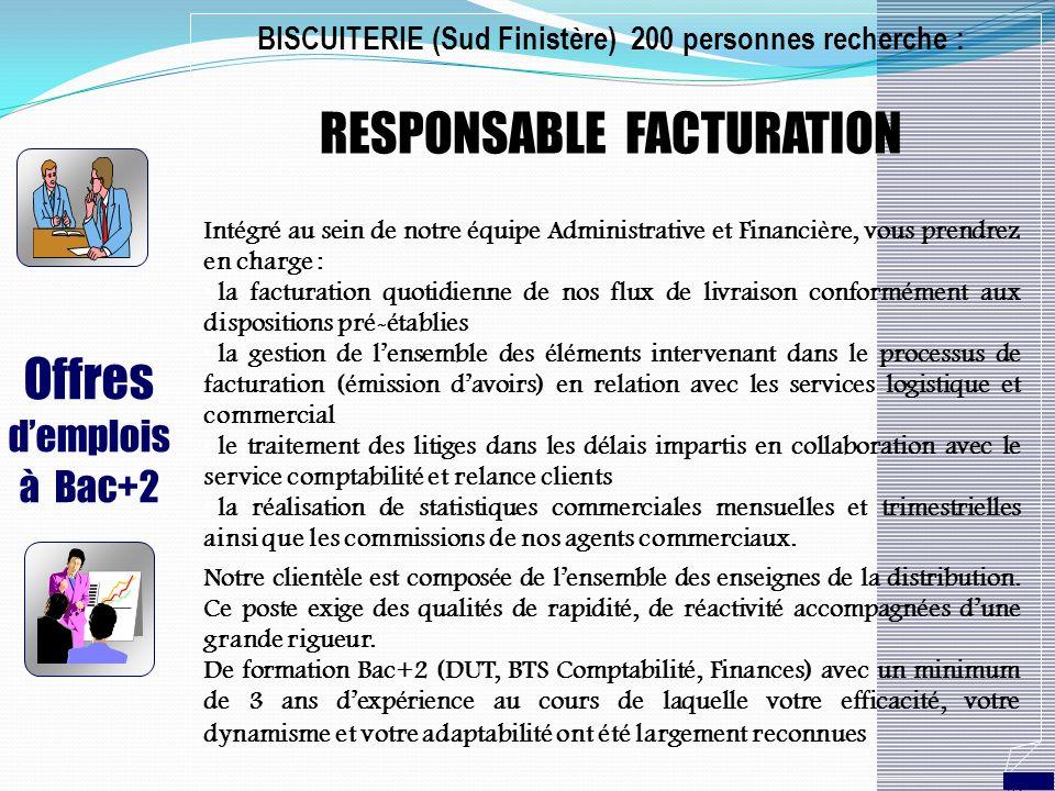 Offres demplois à Bac+2 BISCUITERIE (Sud Finistère) 200 personnes recherche : RESPONSABLE FACTURATION Intégré au sein de notre équipe Administrative e