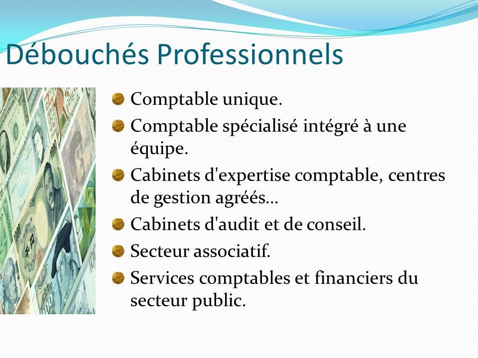 Débouchés Professionnels Comptable unique. Comptable spécialisé intégré à une équipe. Cabinets d'expertise comptable, centres de gestion agréés... Cab