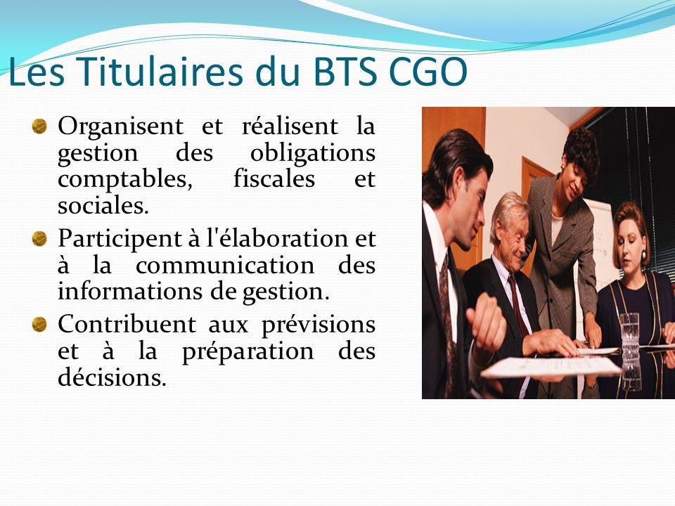Les Titulaires du BTS CGO Organisent et réalisent la gestion des obligations comptables, fiscales et sociales. Participent à l'élaboration et à la com