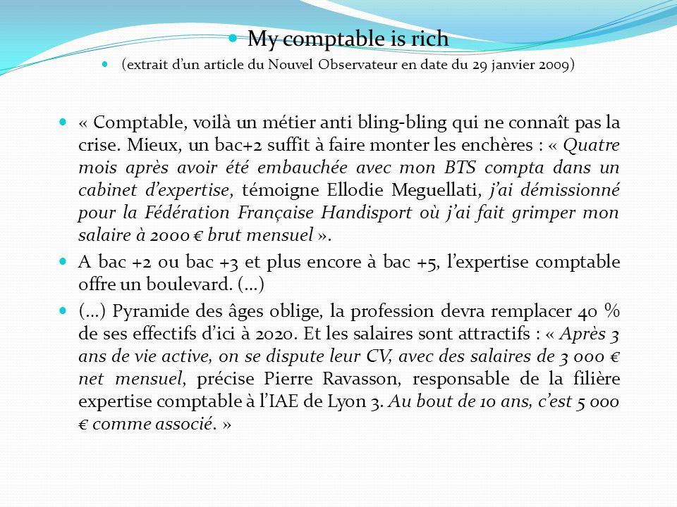 My comptable is rich (extrait dun article du Nouvel Observateur en date du 29 janvier 2009) « Comptable, voilà un métier anti bling-bling qui ne conna