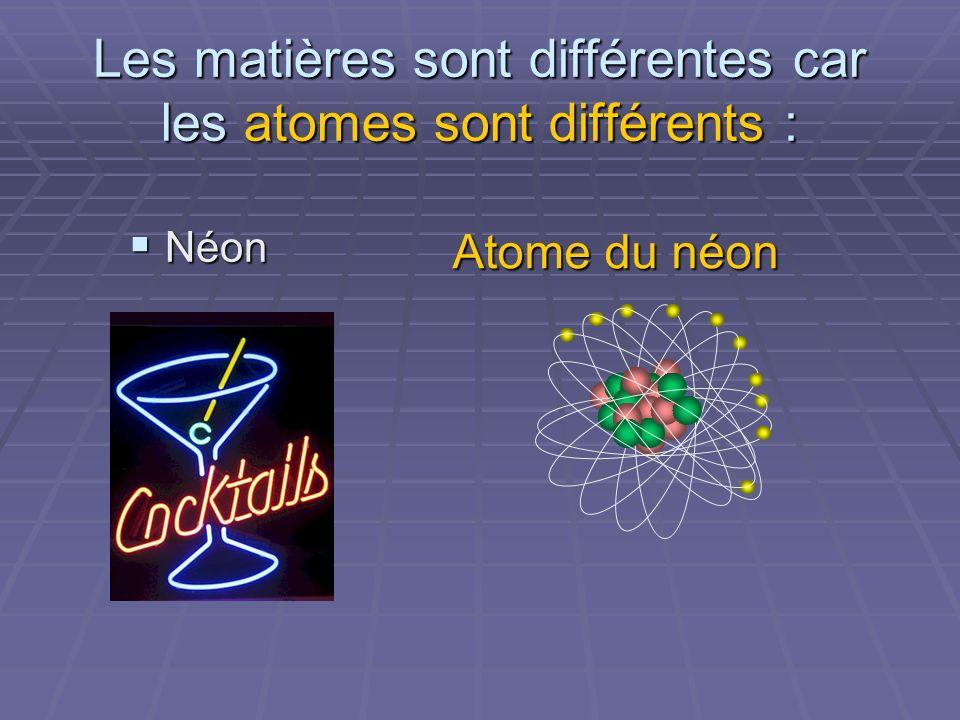 Les matières sont différentes car les atomes sont différents : Néon Néon Atome du néon