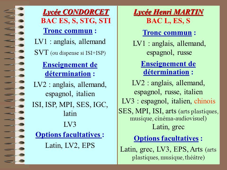 Options facultatives : Latin, LV2, EPS Enseignement de détermination : LV2 : anglais, allemand, espagnol, italien ISI, ISP, MPI, SES, IGC, latin LV3 T