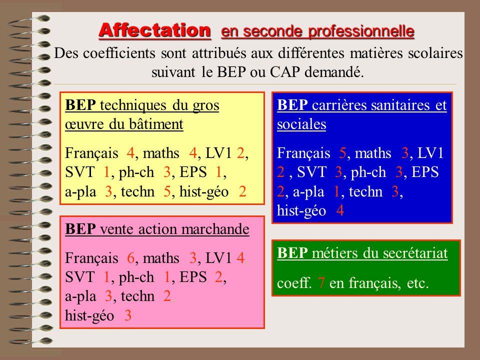 BEP techniques du gros œuvre du bâtiment Français 4, maths 4, LV1 2, SVT 1, ph-ch 3, EPS 1, a-pla 3, techn 5, hist-géo 2 Affectation en seconde profes