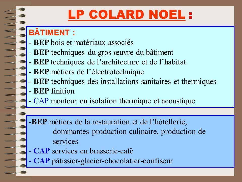 LP COLARD NOEL : BÂTIMENT : - BEP bois et matériaux associés - BEP techniques du gros œuvre du bâtiment - BEP techniques de larchitecture et de lhabit