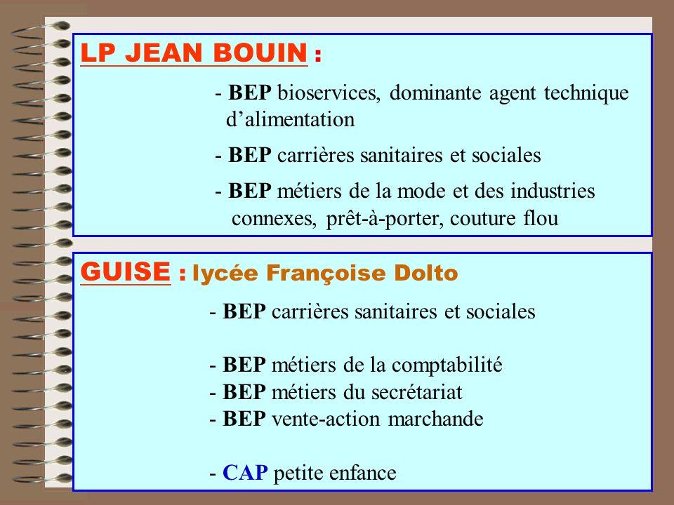 LP JEAN BOUIN : - BEP bioservices, dominante agent technique dalimentation - BEP carrières sanitaires et sociales - BEP métiers de la mode et des indu