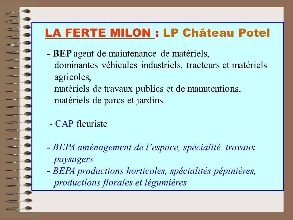 - - BEP agent de maintenance de matériels, dominantes véhicules industriels, tracteurs et matériels agricoles, matériels de travaux publics et de manu