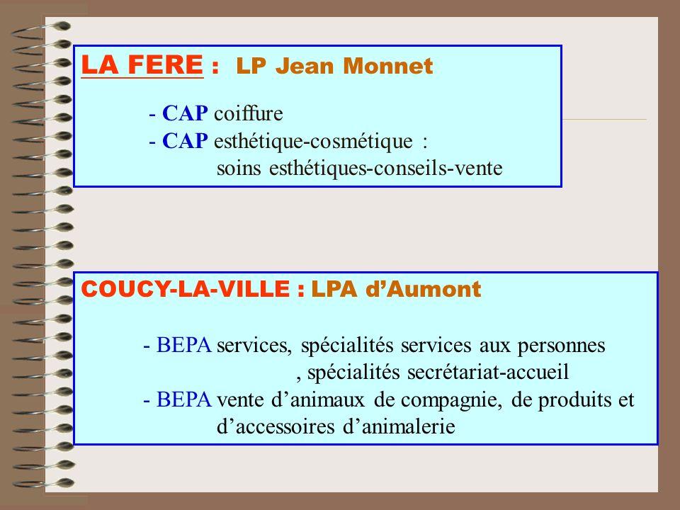 LA FERE : LP Jean Monnet - CAP coiffure - CAP esthétique-cosmétique : soins esthétiques-conseils-vente COUCY-LA-VILLE : LPA dAumont - BEPA services, s