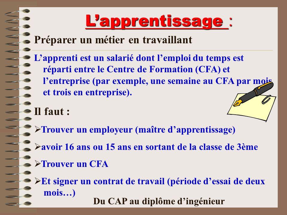 Lapprentissage : Préparer un métier en travaillant Lapprenti est un salarié dont lemploi du temps est réparti entre le Centre de Formation (CFA) et le