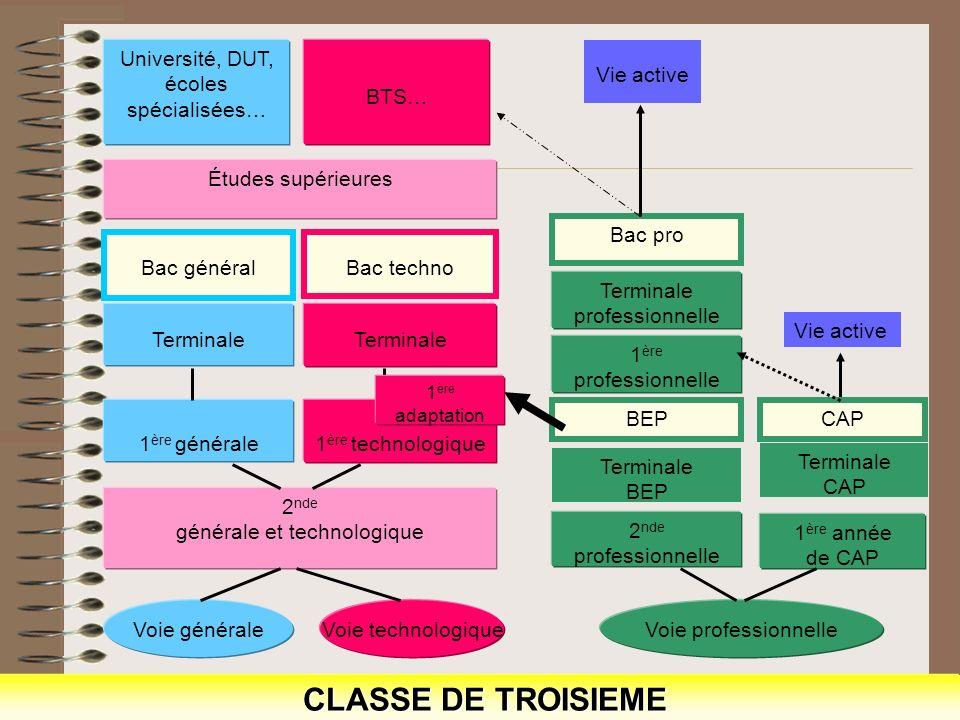 CLASSE DE TROISIEME CLASSE DE TROISIEME Voie généraleVoie technologique 2 nde générale et technologique 1 ère technologique Terminale Bac techno Termi