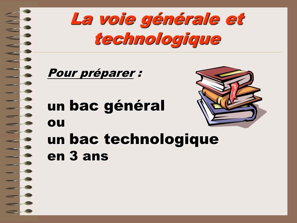 La voie générale et technologique Pour préparer : un bac général ou un bac technologique en 3 ans