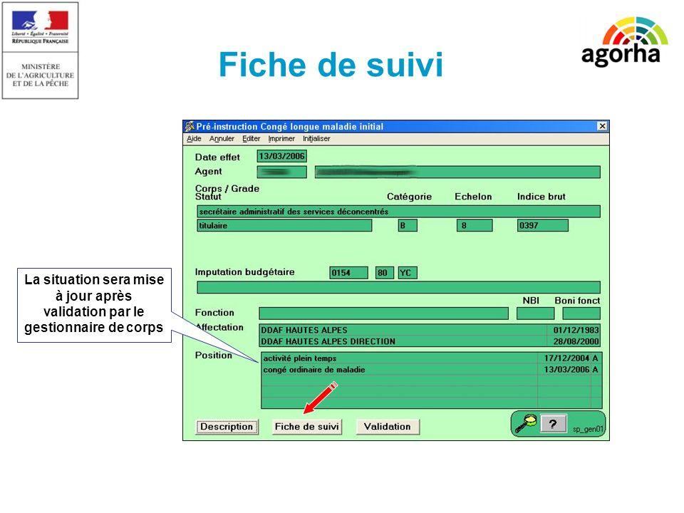 SG/SRH/MISIRH Fiche de suivi La situation sera mise à jour après validation par le gestionnaire de corps