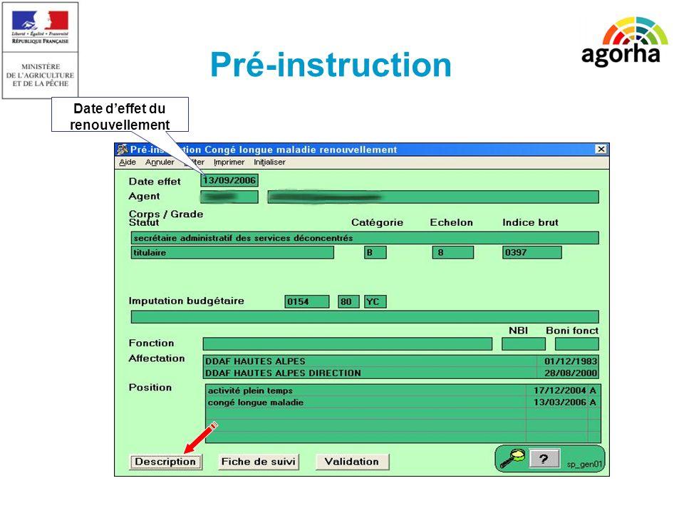SG/SRH/MISIRH Pré-instruction Date deffet du renouvellement