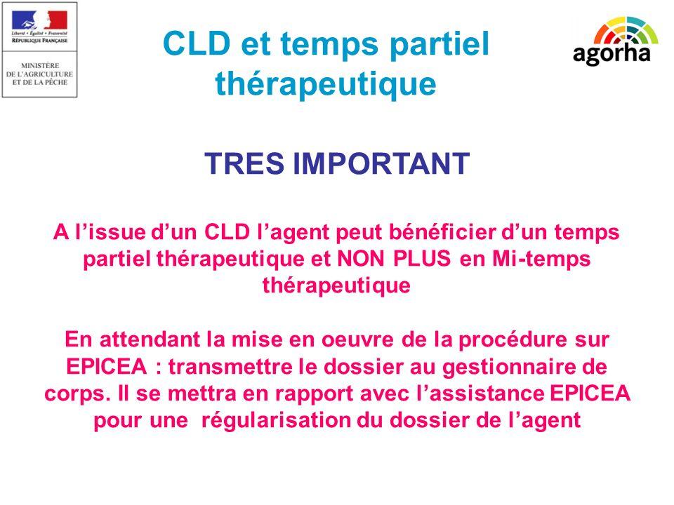 SG/SRH/MISIRH CLD et temps partiel thérapeutique TRES IMPORTANT A lissue dun CLD lagent peut bénéficier dun temps partiel thérapeutique et NON PLUS en