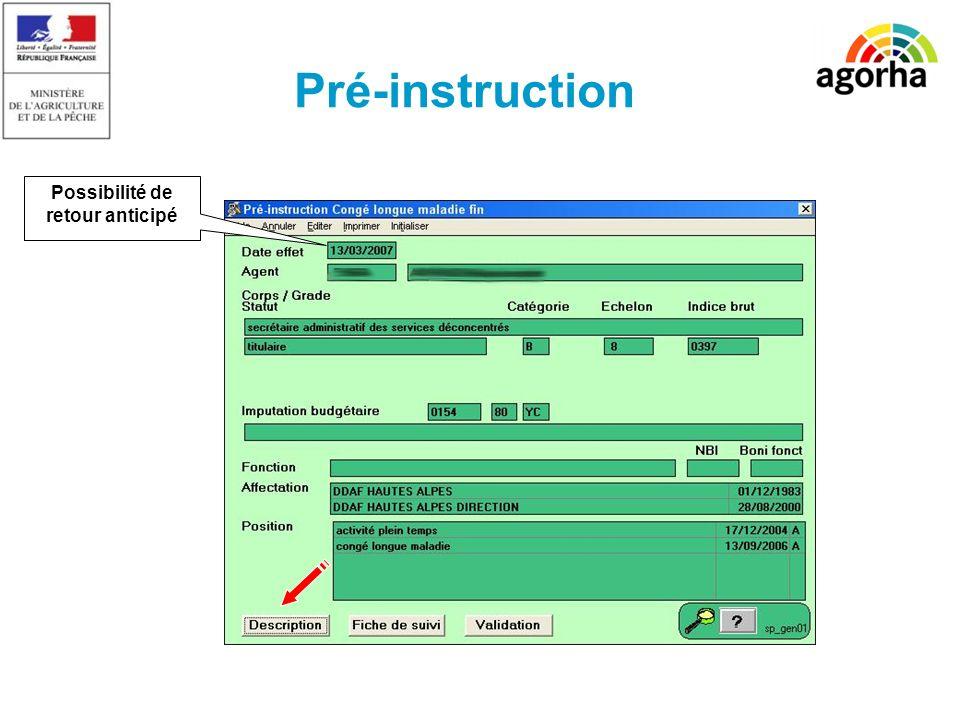 SG/SRH/MISIRH Pré-instruction Possibilité de retour anticipé