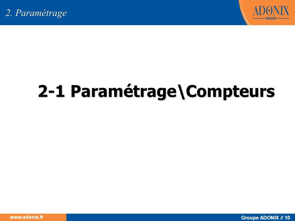 Groupe ADONIX // 10 www.adonix.fr 2-1 Paramétrage\Compteurs 2. Paramétrage