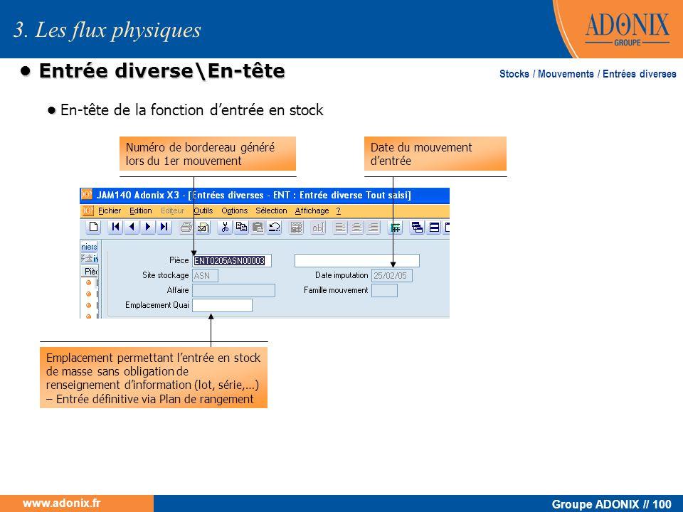 Groupe ADONIX // 100 www.adonix.fr Entrée diverse\En-tête Entrée diverse\En-tête En-tête de la fonction dentrée en stock Emplacement permettant lentré