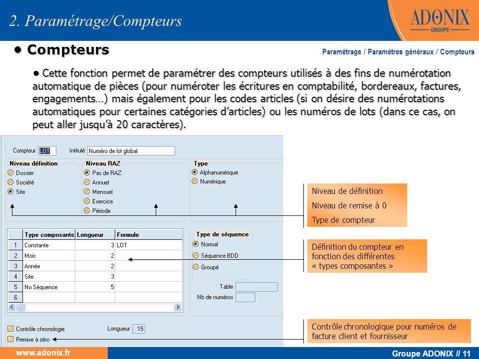 Groupe ADONIX // 11 www.adonix.fr Compteurs Compteurs Cette fonction permet de paramétrer des compteurs utilisés à des fins de numérotation automatiqu