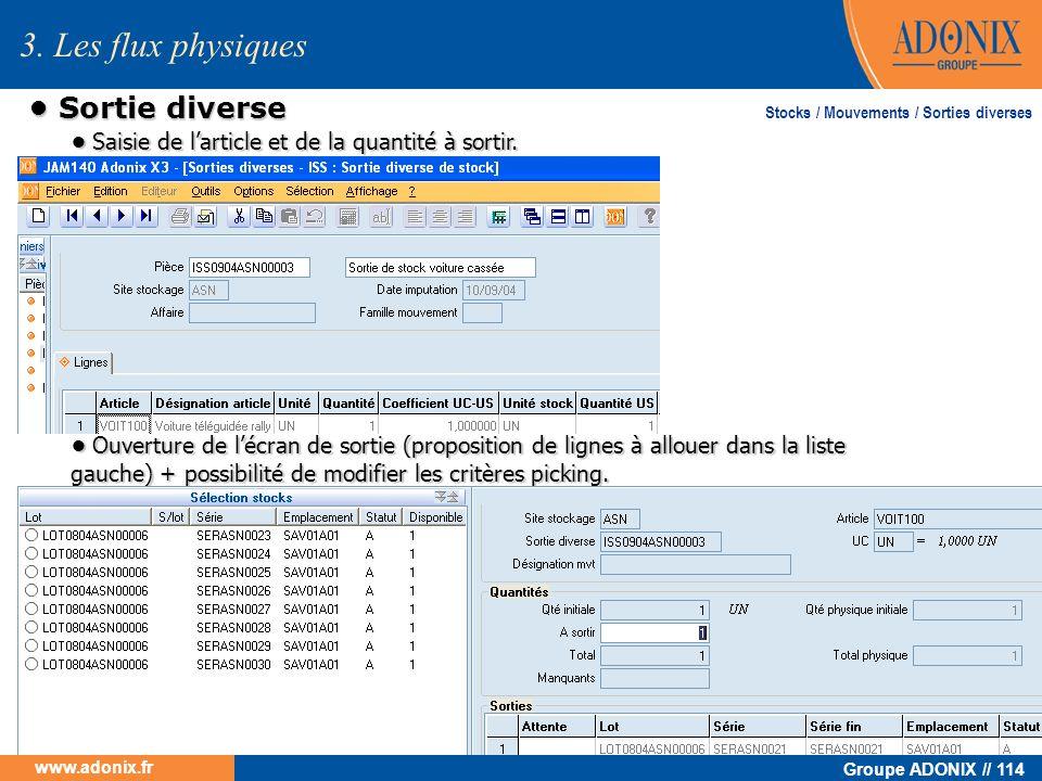Groupe ADONIX // 114 www.adonix.fr Sortie diverse Sortie diverse 3. Les flux physiques Saisie de larticle et de la quantité à sortir. Saisie de lartic