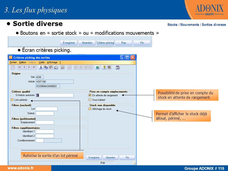 Groupe ADONIX // 115 www.adonix.fr Sortie diverse Sortie diverse Stocks / Mouvements / Sorties diverses 3. Les flux physiques Boutons en « sortie stoc