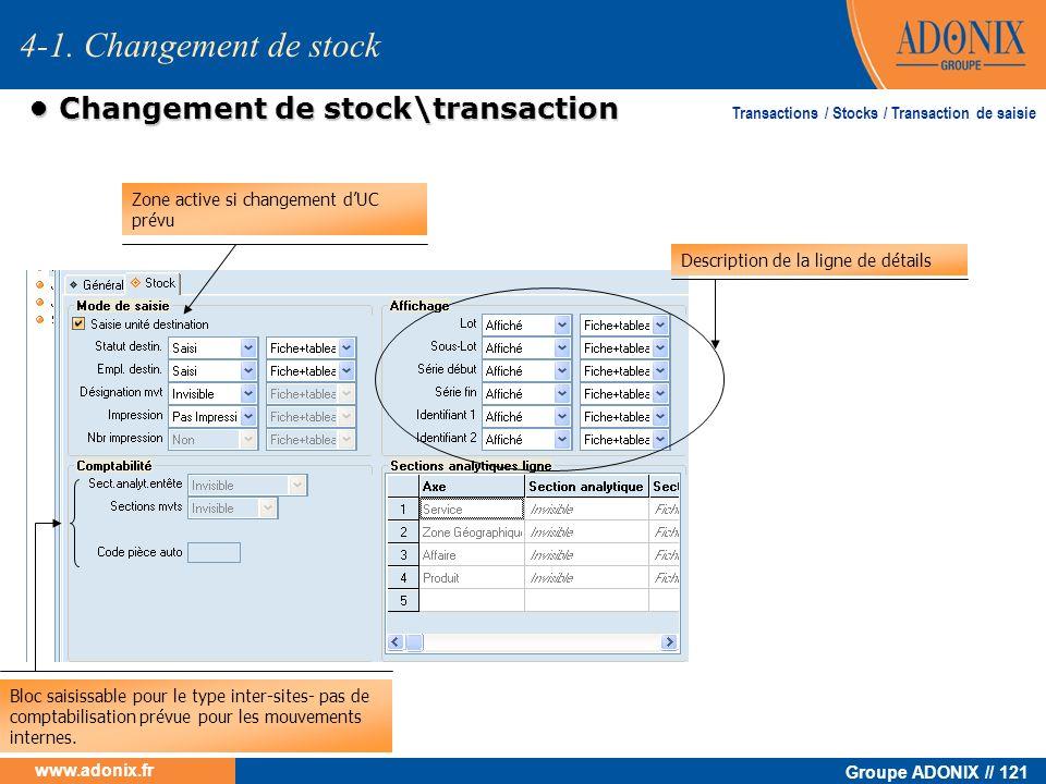 Groupe ADONIX // 121 www.adonix.fr Changement de stock\transaction Changement de stock\transaction Zone active si changement dUC prévu Bloc saisissabl