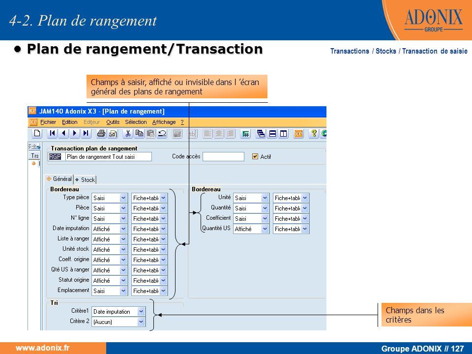 Groupe ADONIX // 127 www.adonix.fr Plan de rangement/Transaction Plan de rangement/Transaction Champs à saisir, affiché ou invisible dans l écran géné