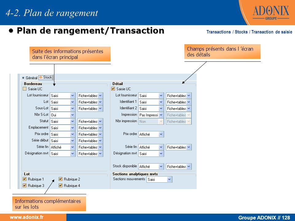 Groupe ADONIX // 128 www.adonix.fr Plan de rangement/Transaction Plan de rangement/Transaction Suite des informations présentes dans lécran principal