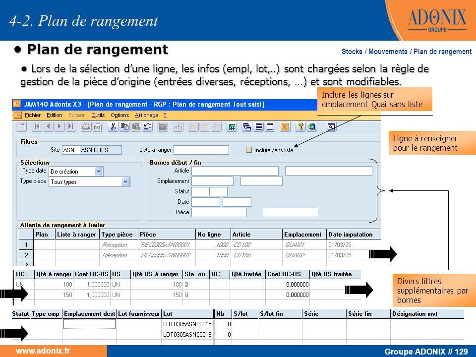 Groupe ADONIX // 129 www.adonix.fr Plan de rangement Plan de rangement Ligne à renseigner pour le rangement Divers filtres supplémentaires par bornes