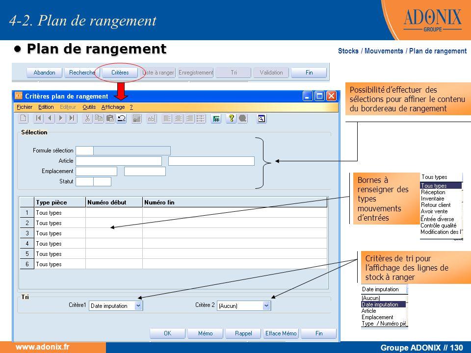 Groupe ADONIX // 130 www.adonix.fr Plan de rangement Plan de rangement Critères de tri pour laffichage des lignes de stock à ranger Bornes à renseigne