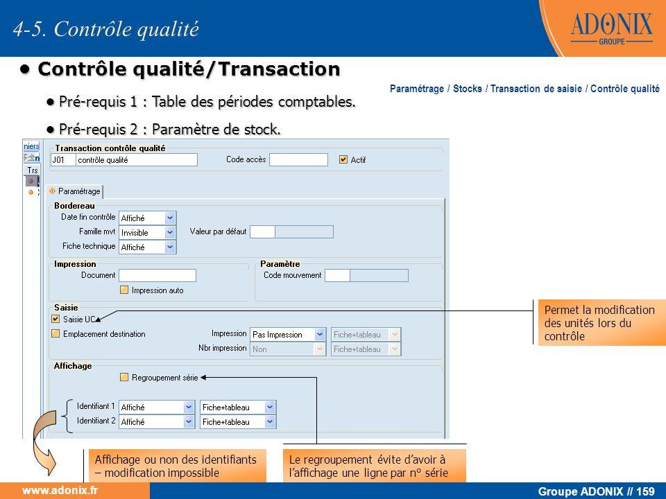 Groupe ADONIX // 159 www.adonix.fr Contrôle qualité/Transaction Contrôle qualité/Transaction Affichage ou non des identifiants – modification impossib