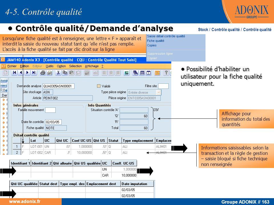 Groupe ADONIX // 163 www.adonix.fr Contrôle qualité/Demande danalyse Contrôle qualité/Demande danalyse 4-5. Contrôle qualité Stock / Contrôle qualité