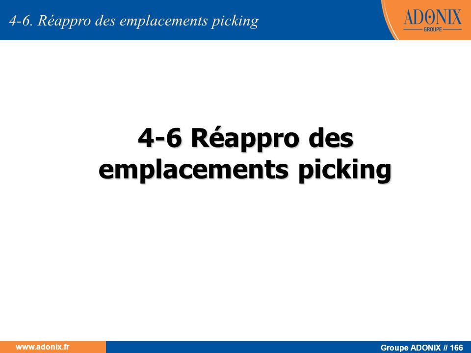 Groupe ADONIX // 166 www.adonix.fr 4-6 Réappro des emplacements picking 4-6. Réappro des emplacements picking